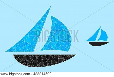Low-poly Sailing Boat Icon On A Light Blue Background. Polygonal Sailing Boat Vector Combined Of Ran