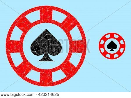 Lowpoly Spades Casino Chip Icon On A Sky Blue Background. Polygonal Spades Casino Chip Vector Is Con