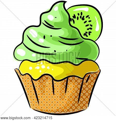 Vector Cupcake With Kiwi And Cream Icon Isolated On White