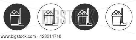 Black Mop And Bucket Icon Isolated On White Background. Cleaning Service Concept. Circle Button. Vec