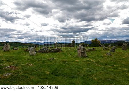 A View Of An Ancient Stone Circle In Tominaverie In Deeside, Scotland.