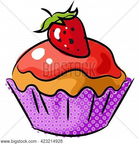 Vector Biscuit Cupcake With Strawberry And Icing Icon