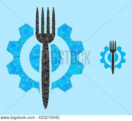Low-poly Food Hitech Icon On A Light Blue Background. Polygonal Food Hitech Vector Is Combined Of Ra