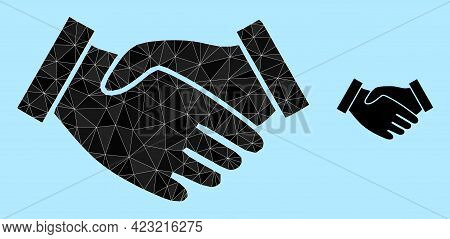 Low-poly Hand Take Icon On A Light Blue Background. Polygonal Hand Take Vector Is Designed With Rand