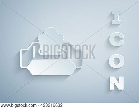 Paper Cut Wet Wipe Pack Icon Isolated On Grey Background. Paper Art Style. Vector