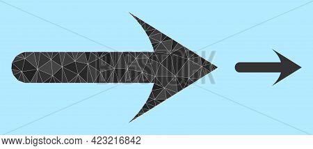 Lowpoly Forward Arrow Icon On A Light Blue Background. Polygonal Forward Arrow Vector Designed With