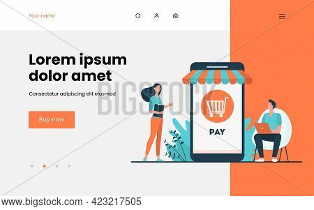 Joyful Tiny Customers Paying In Online Store. Smartphone, Shop, Phone Flat Vector Illustration. E-co
