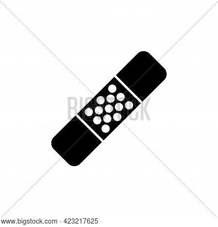 Medical Plaster, Adhesive Bandage, Patch. Flat Vector Icon Illustration. Simple Black Symbol On Whit