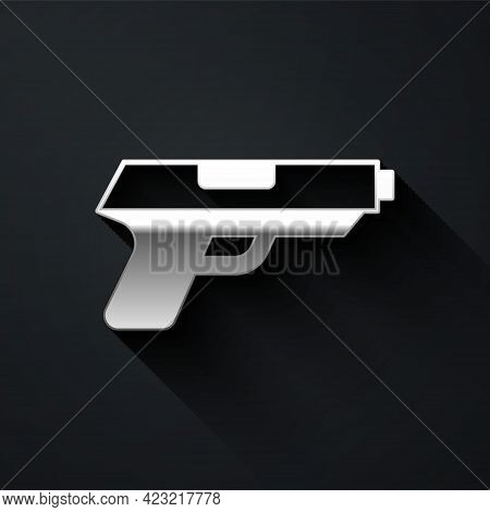 Silver Pistol Or Gun Icon Isolated On Black Background. Police Or Military Handgun. Small Firearm. L