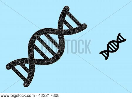 Lowpoly Genome Molecule Icon On A Light Blue Background. Polygonal Genome Molecule Vector Filled Fro