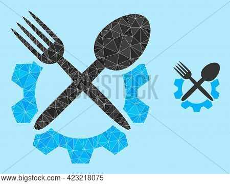 Lowpoly Food Industry Icon On A Sky Blue Background. Polygonal Food Industry Vector Designed With Ra