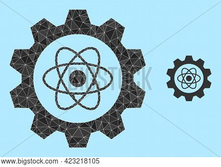 Lowpoly Atomic Industry Icon On A Light Blue Background. Polygonal Atomic Industry Vector Constructe