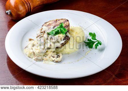 Comfort Home Cooked Food - Grilled Pork, Mashed Potatoes With Creamy Mushroom Sauce