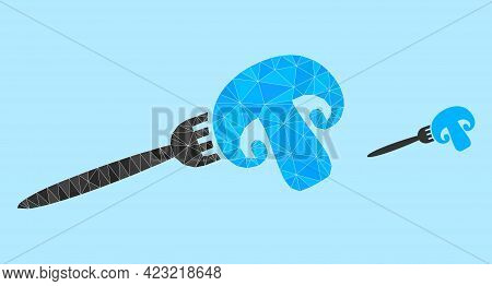 Low-poly Champignon Fork Icon On A Sky Blue Background. Polygonal Champignon Fork Vector Is Combined