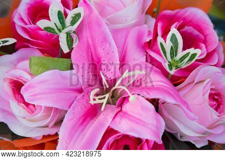 Bunch Of Flowers,flower Bouquets,flowers Background.abstract Background Of Flowers. Close-up.flower