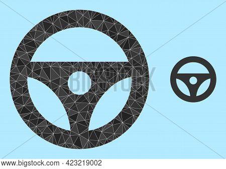 Low-poly Car Steering Wheel Icon On A Sky Blue Background. Polygonal Car Steering Wheel Vector Is De