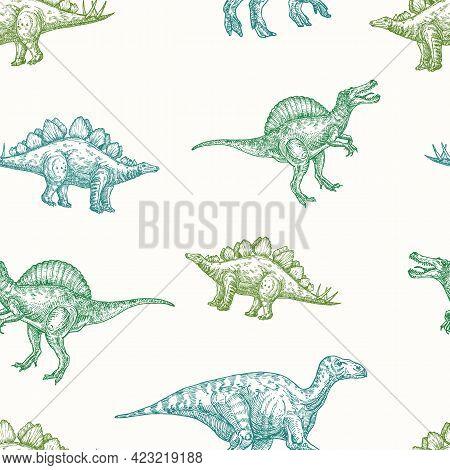 Hand Drawn Dinosaurs Vector Seamless Background Pattern. Spinosaurus, Stegosaurus And Iguanodon Colo