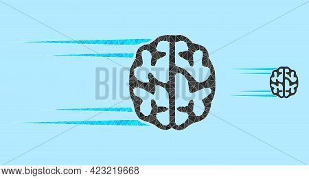Lowpoly Rush Brain Icon On A Sky Blue Background. Polygonal Rush Brain Vector Is Constructed Of Rand