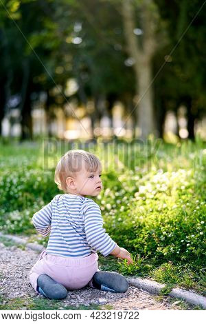 Little Child Kneels On The Path Near The Green Lawn With His Head Turned