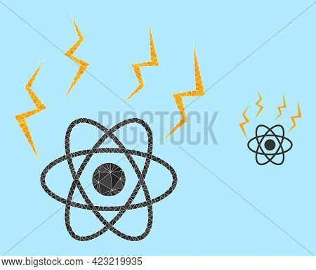 Low-poly Atomic Emission Icon On A Sky Blue Background. Polygonal Atomic Emission Vector Is Construc