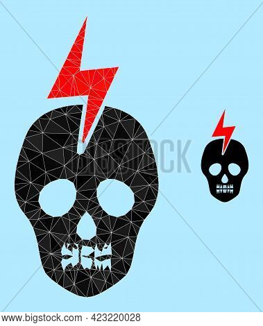 Lowpoly Mortal Electricity Icon On A Light Blue Background. Polygonal Mortal Electricity Vector Comb