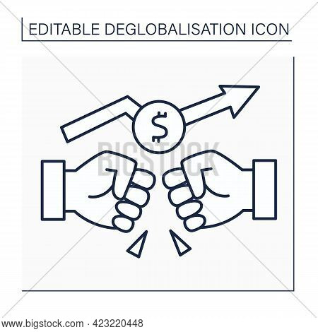 Trade War Line Icon.rivalry Between Supplier Countries. Fight To Capture Foreign Markets. Deglobalis