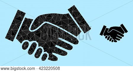 Lowpoly Handshake Icon On A Sky Blue Background. Polygonal Handshake Vector Constructed Of Chaotic T