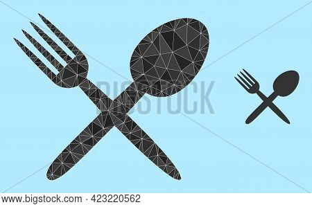 Low-poly Fork And Spoon Icon On A Light Blue Background. Polygonal Fork And Spoon Vector Is Designed