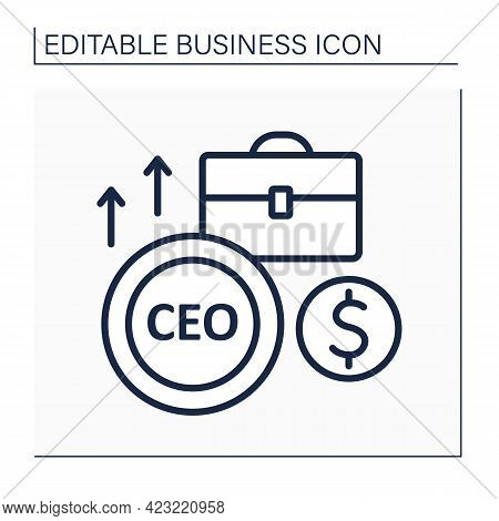 Ceo Line Icon. Chief Executive Officer. Leader Of Business Project. Main Person In The Workplace. Bu