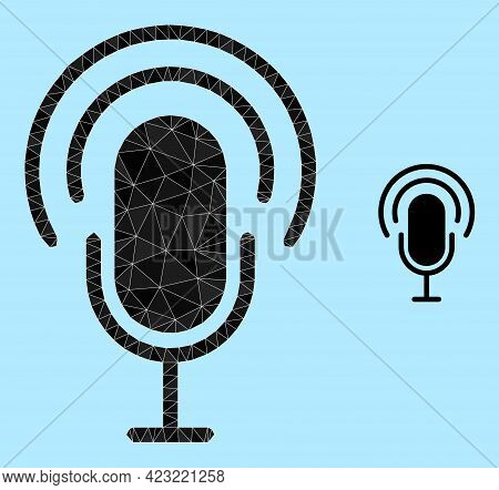 Lowpoly Podcast Icon On A Light Blue Background. Polygonal Podcast Vector Filled From Randomized Tri