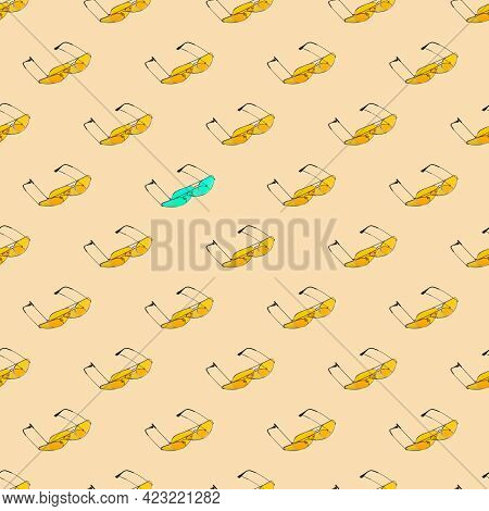 Seamless Looping Pattern With Yellow Sunglasses On A Sand Color Background. Hard Shadows From The Su