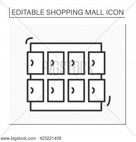 Lockers Line Icon. Small Narrow Storage Compartment. Place To Store Purchases In Mall Complex. Shopp