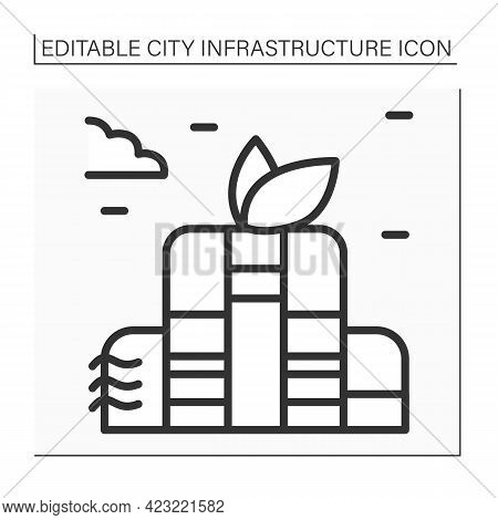 Green Building Line Icon. Environmentally Responsible Structure And Application Of Processes Through