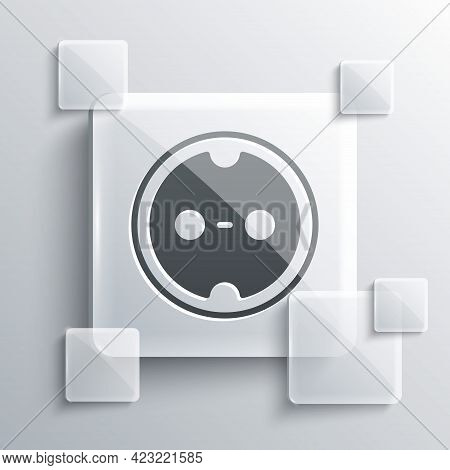 Grey Electrical Outlet Icon Isolated On Grey Background. Power Socket. Rosette Symbol. Square Glass