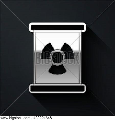 Silver Radioactive Waste In Barrel Icon Isolated On Black Background. Toxic Refuse Keg. Radioactive