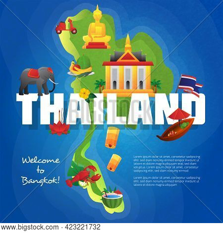 Welcome To Bangkok Travel Agency Advertisement Poster With Cultural Symbols On Thailand Map Backgrou