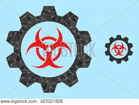 Lowpoly Toxic Industry Icon On A Light Blue Background. Polygonal Toxic Industry Vector Constructed