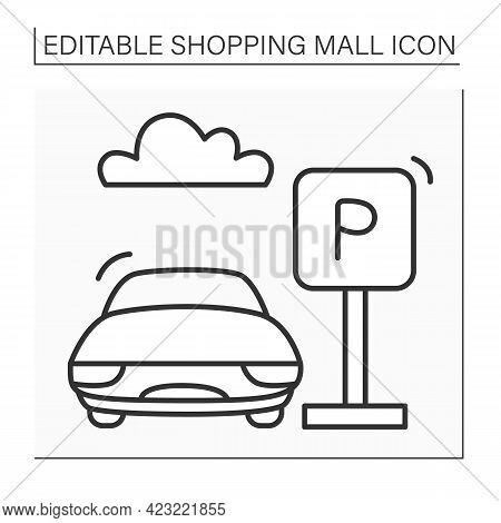 Parking Line Icon. Parking Zone For Cars Near Mall Complexes. Pointer. Car Stopping. Shopping Mall C