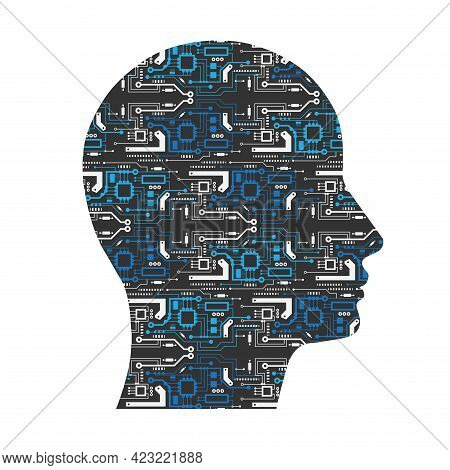 Electronic Head.artificial Intelligence.human Face With Circuit Board .vector Illustration.