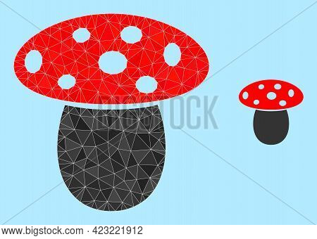 Low-poly Mushroom Icon On A Light Blue Background. Polygonal Mushroom Vector Is Filled Of Scattered