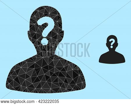 Lowpoly Unknown Body Icon On A Sky Blue Background. Polygonal Unknown Body Vector Designed From Rand