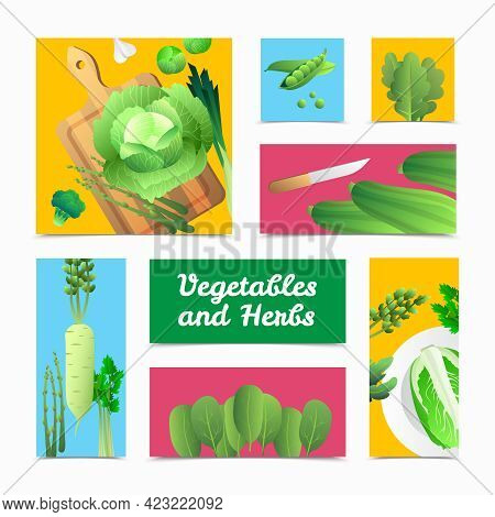 Fresh Organically Grown Green Vegetables Icons Banners And Culinary  Headers Composition Colorful Ba