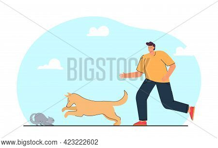 Man Breaking Up Fight Between Dog And Cat. Owner Trying To Protect His Pet Flat Vector Illustration.