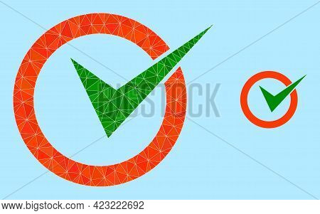 Lowpoly Checkbox Circle Icon On A Sky Blue Background. Polygonal Checkbox Circle Vector Designed Fro