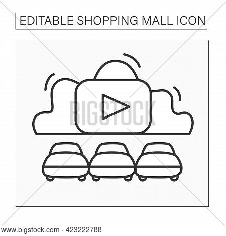 Drive-in Cinema Line Icon. Outdoor Movie Theatre With Cars In Open Air Parking. Shopping Mall Concep