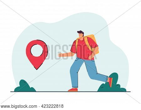 Happy Male Traveler Reaching Destination Point. Man With Backpack Visiting New Countries Flat Vector