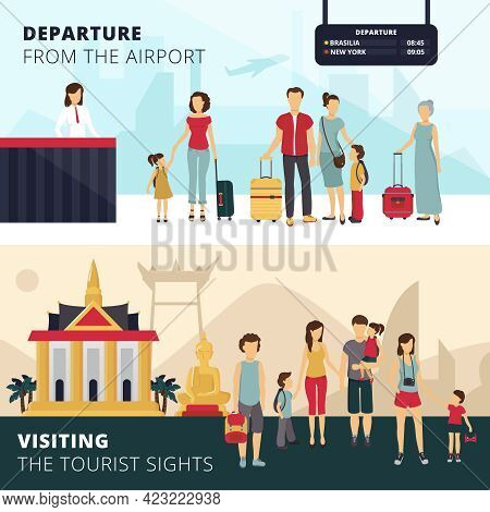 Travelers Departure From Airport And Visiting Places Of Interest 2 Horizontal Banners For Tourists A