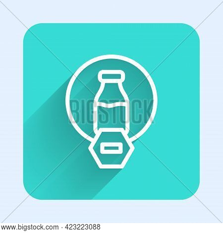 White Line Lactose Free Icon Isolated With Long Shadow Background. Green Square Button. Vector