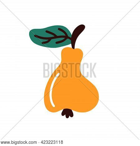 Ripe Pear On A White Background.vector Illustration