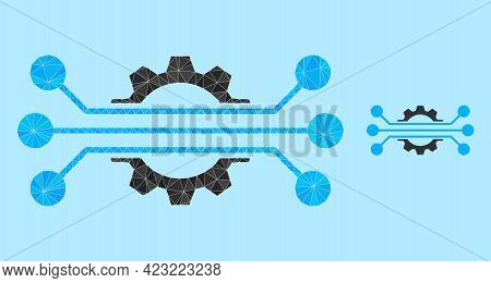 Low-poly Hitech Industry Icon On A Light Blue Background. Polygonal Hitech Industry Vector Filled Of